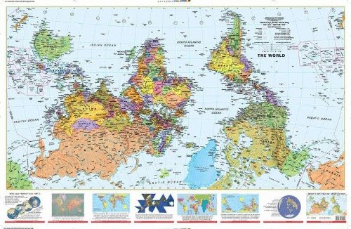 What´s Up? South! World Map (2x3') folded paper