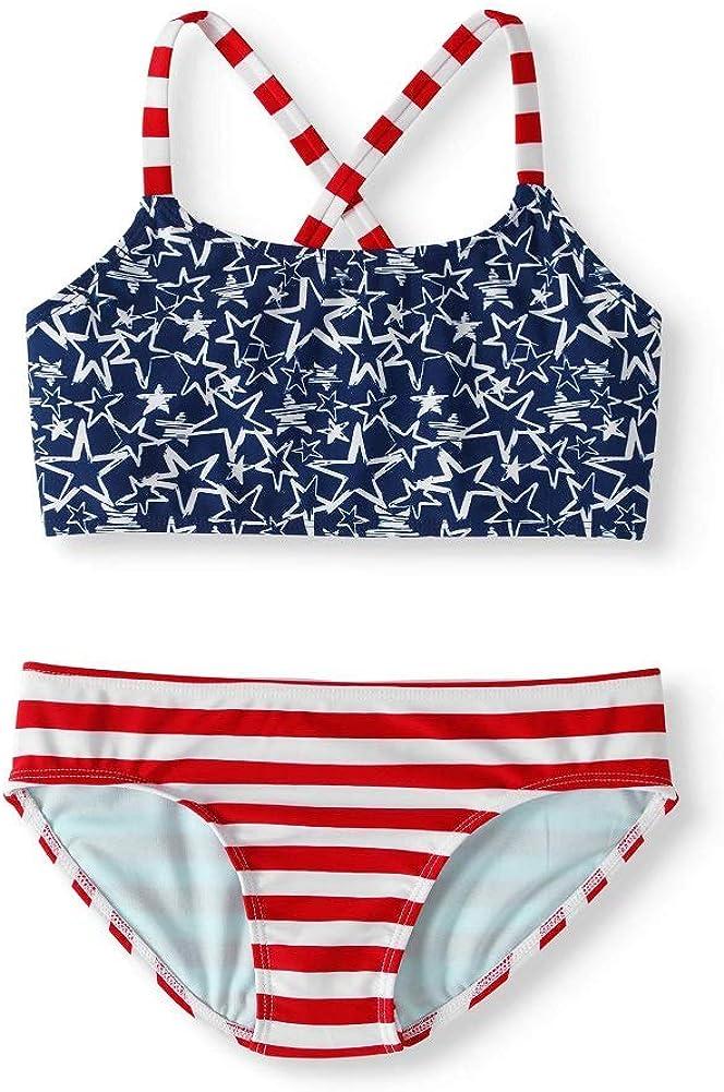 Wonder Nation Girls USA Flag Print Cross Back Bikini
