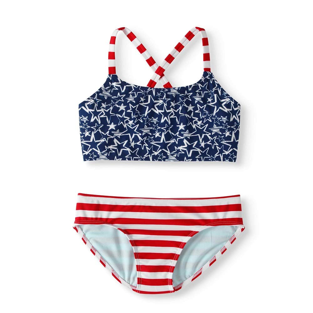 Girls USA Flag Print Cross Back Bikini