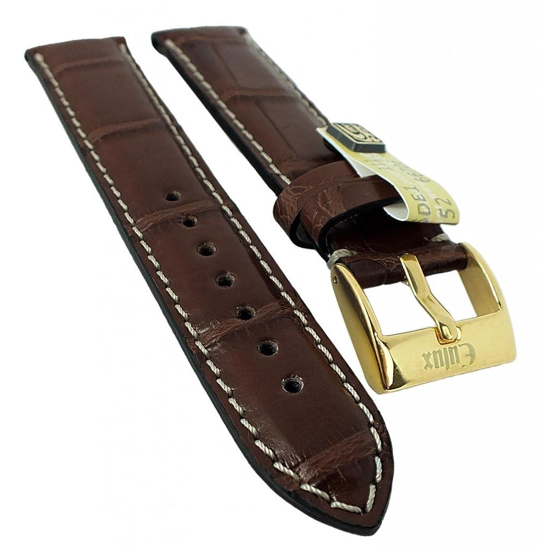 Alligator Highline Ersatzband Uhrenarmband 18mm - 22mm | Alligator-Leder dunkelbraun - seidenglÄnzend 30399 - Stegbreite