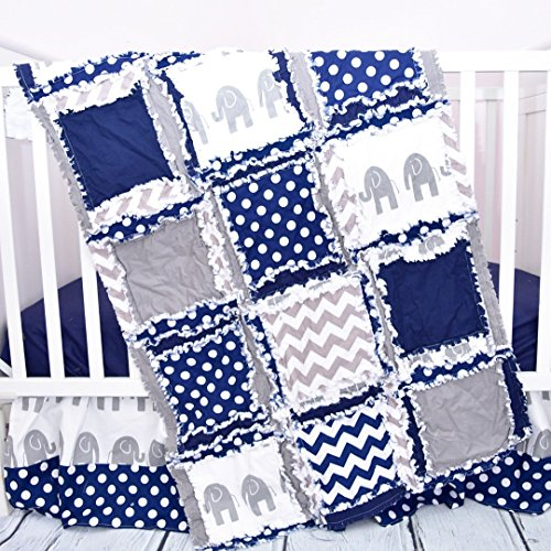 Elephant Crib Set - Gray / Navy - Safari Baby Bedding with Quilt, Skirt, Sheet by A Vision to Remember