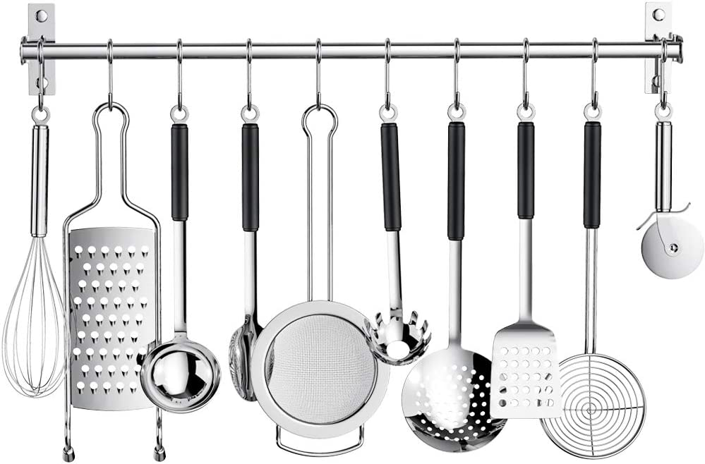 Kitchen Sliding Hooks, Stainless Steel Utensil Hanging Rack with 10 Removable S Hooks,Wall Mounted Kitchen Rail Organizer for Pot Lid Pan, Spoon, BBQ Tools,Cookware,Bathrobe Towel Hanger Bar