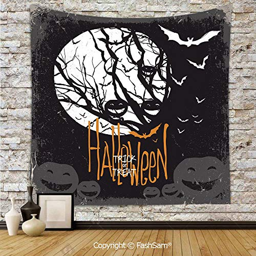 FashSam Tapestry Wall Blanket Wall Decor Halloween Themed Image with Full Moon and Jack o Lanterns on a Tree Decorative Home Decorations for Bedroom(W59xL90)]()