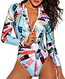 Funnygirl Women's Fashion Printing Rashguard Long Sleeve Zip UV Protection Print Surfing Swimsuit Swimwear Bathing Suits