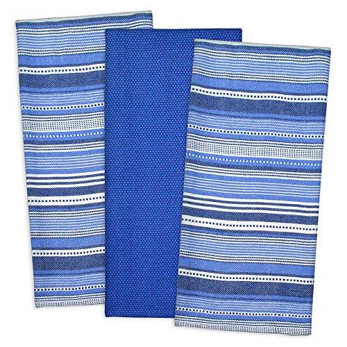 - DII 100% Cotton, Machine Washable, Pre Shrunk, Everday Kitchen Basic, Designer Inspired, Ultra Absorbent, 20x30 Urban Stripe Dishtowel Set of 3, Nautical Blue