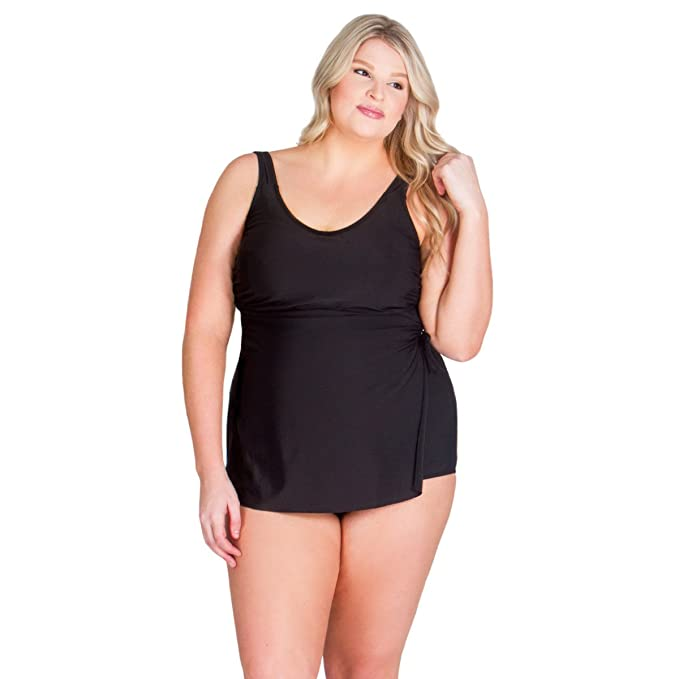 Amazon.com: Una sola pieza traje de baño con falda frontal ...