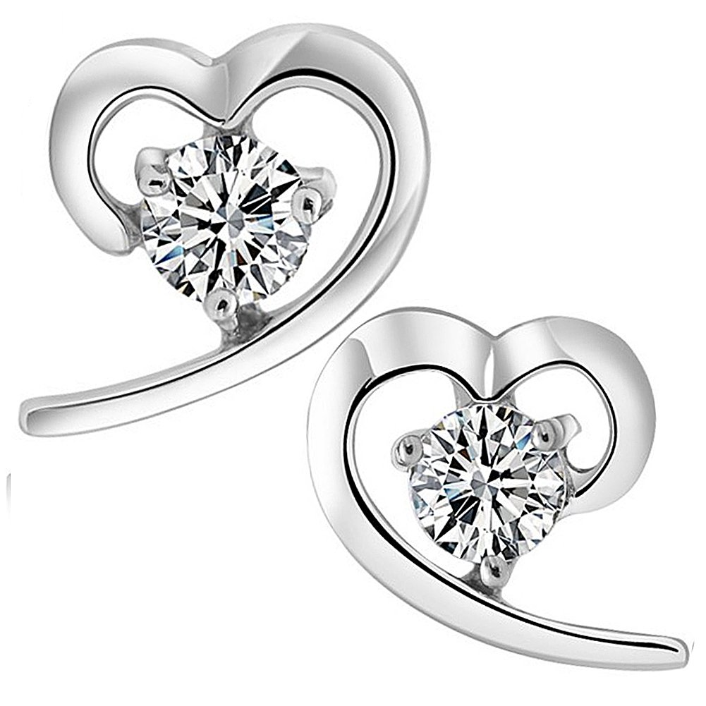 Viyino Ladies Jewellers 925 Sterling Silver Black Paint Heart Studs Earrings Cubic Zirconia for Women upnXC66