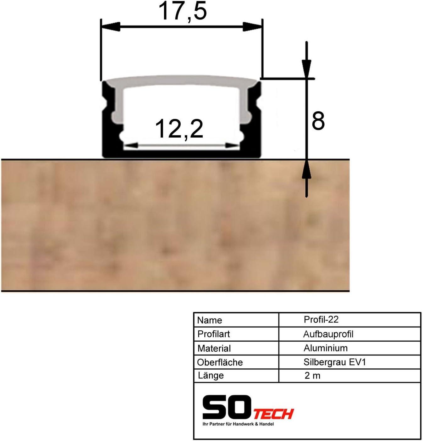 10 Stück SO-TECH® LED Profil-22 mit opalfarbiger Abdeckung je 2m für LED Streifen 10 X Profil-22 Klar