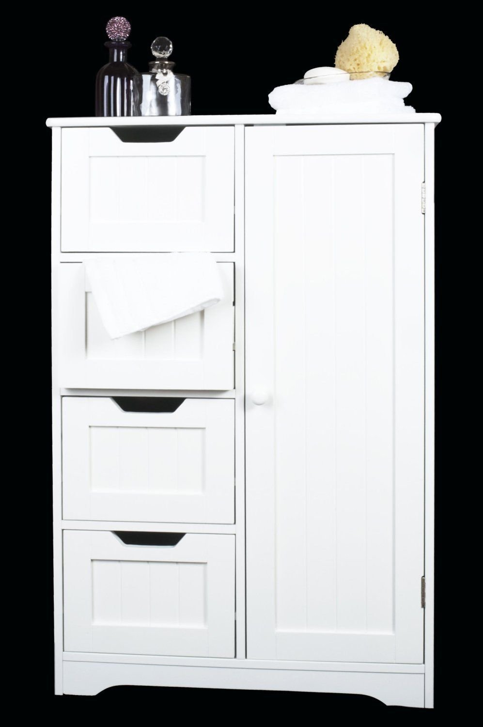 home treats white wooden bathroom cabinet with four drawers u0026 cupboard ideal for bathroom or bedroom amazoncouk kitchen u0026 home