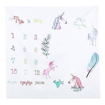 OULII Manta Mensual de Fotografía de Bebé con Unicorn para Bebé Recién Niños (Unicornio)