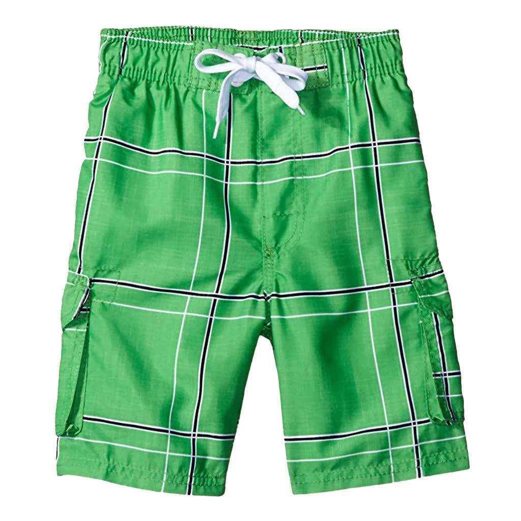 NUWFOR Men's Pocket Loose-Fitting Show Line Elastic Waistband Beach Pants Shorts(Green,US XXL Waist:38.58-42.52'')