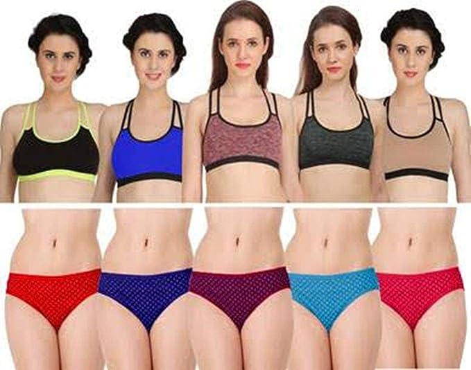 13fac70f57 Fashion Comfortz Womens Sports Bra and Panty Set Womens Girls Ladies  Undergarments Bra Panty Set for