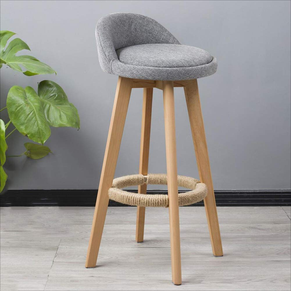 A-grey Dining Chairs Seat Chair Solid Wood redating High Stool Continental Vintage Bar Counter (Unit Price, 2 from The Sale) FENPING (color   C-ash)