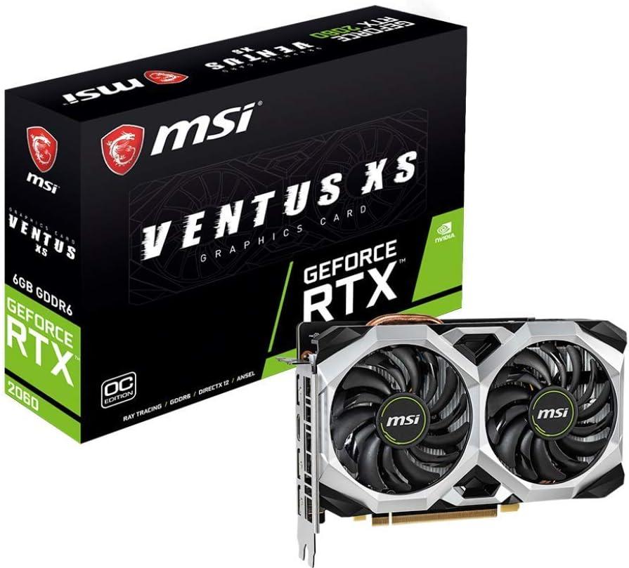 MSI Gaming GeForce RTX 2060 6GB GDRR6 192-bit HDMI/DP Ray Tracing Turing Architecture VR Ready Graphics Card (RTX 2060 VENTUS XS 6G OC) (Renewed)