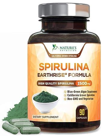 Spirulina Capsules Natural Blue Green Algae Pills 1500mg - High Quality Non-GMO California Blue...