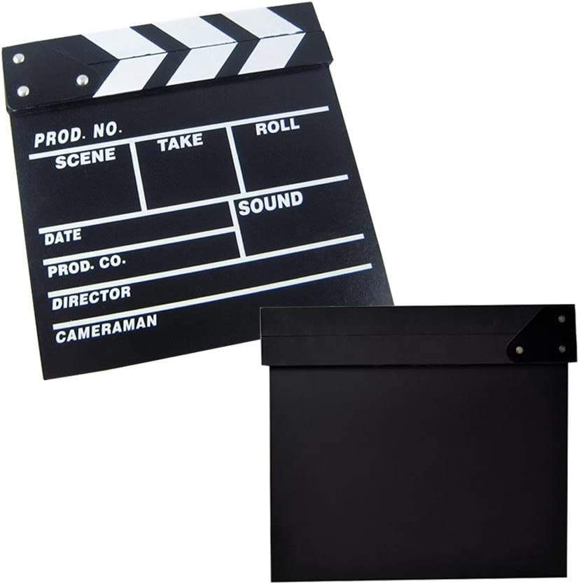 Odowalker Clapper Board Black Clapperboard Clap-Stick Dry Erase Cut Action Scene for Hollywood Camera Film Studio Home Movie Video 7.87x7.87 inch