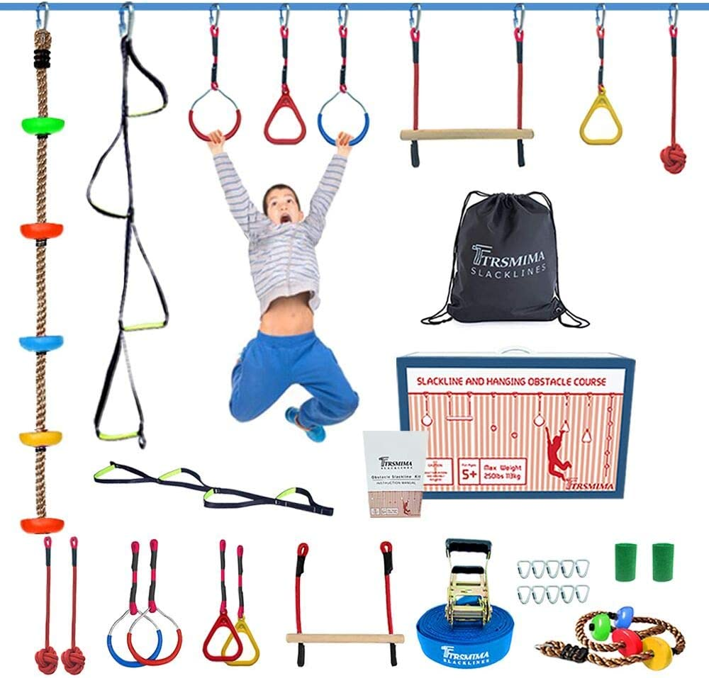 Trsmima Ninja Warrior Obstacle Course for Kids 50' Slackline Kit-Ninja Warrior Training Equipment for Adult with 9 Hanging Attachments Includes Climbing Rope,Webbing Ladder with Jungle Gym Monkey Bar