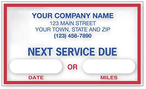 Checksimple Next Service Due Oil Change Stickers Customized Static Cling Windshield Labels Garage Decals 250 Qty