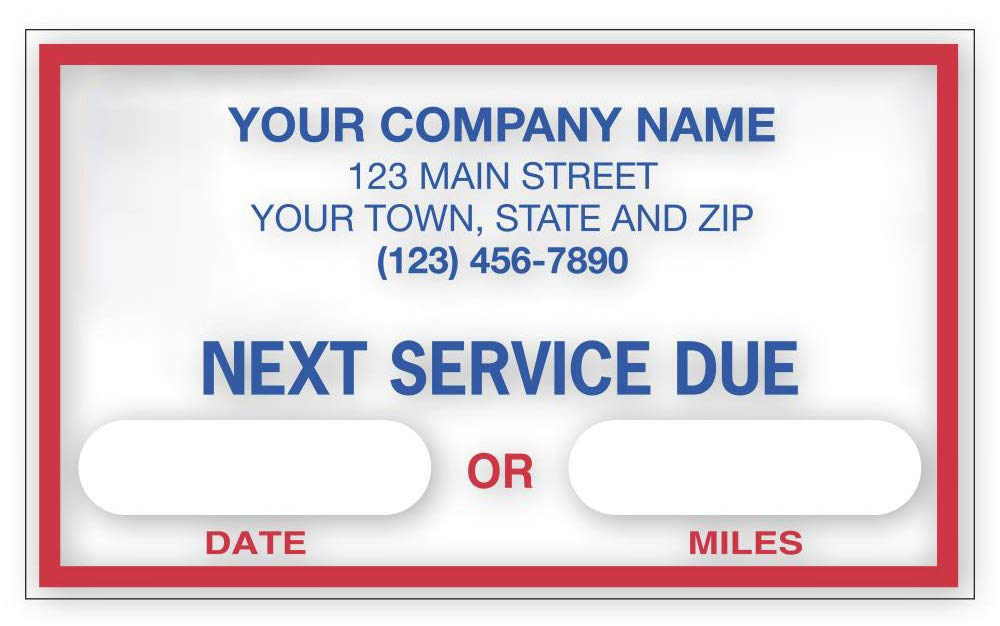 CheckSimple''Next Service Due'' Oil Change Stickers, Customized - Static Cling Windshield Labels - Garage Decals (250 Qty) by CheckSimple