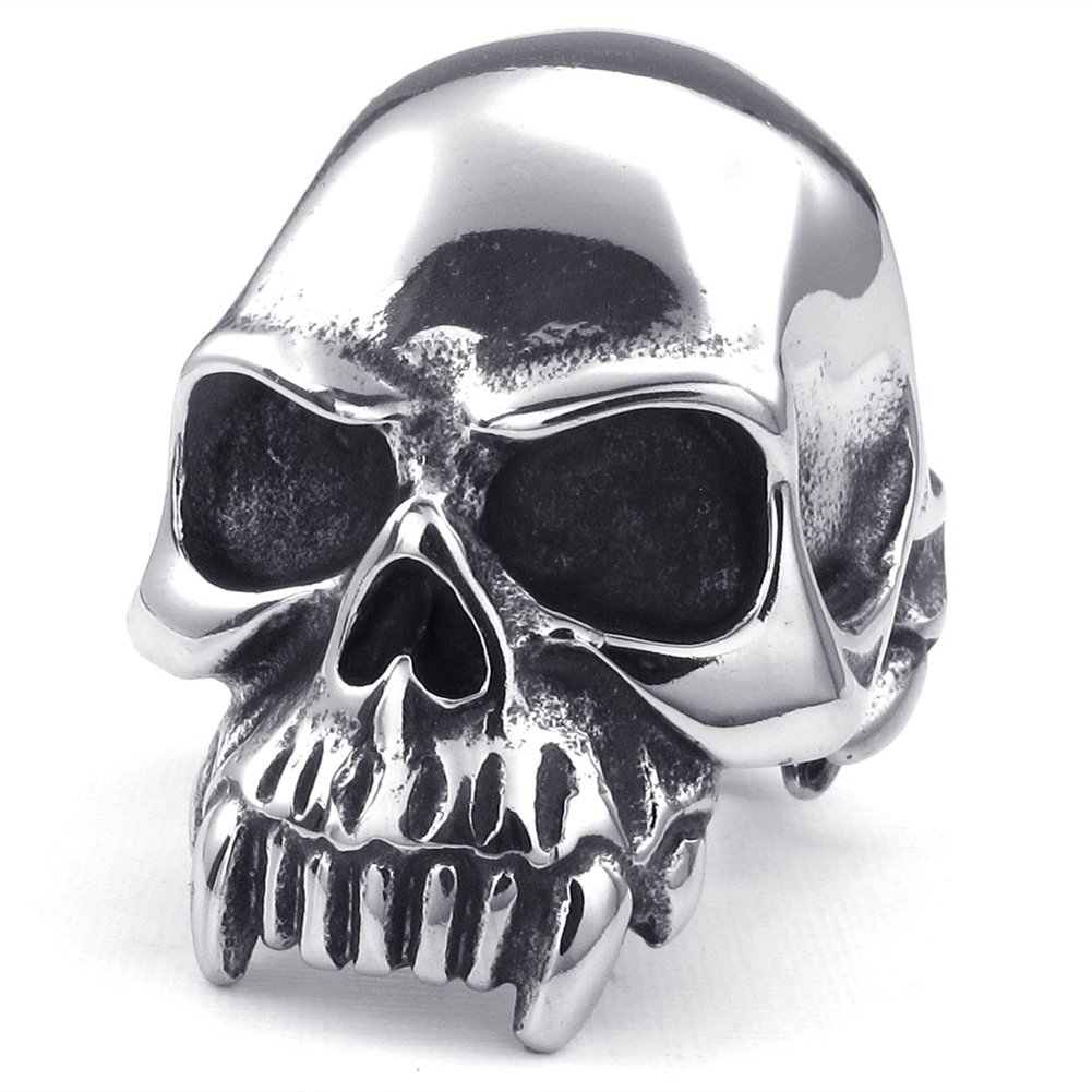 TEMEGO Jewelry Mens Stainless Steel Ring, Vintage Gothic Skull Band, Black Silver 15101400210