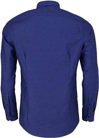 Marvelis Body Fit Camisa de manga larga New Kent cuello patrón azul