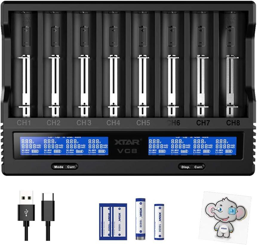 cargador dual 18650 con pantalla LCD para bater/ías de iones de litio IMR 10440 16340 18700 18650 18650 XTAR Cargador de bater/ía VC2 18650 cargador de bater/ías de 3000 mAh