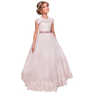 3a59e3e2e Amazon.com: Sittingley Flower Girls Lace Tulle Gowns First Communion ...
