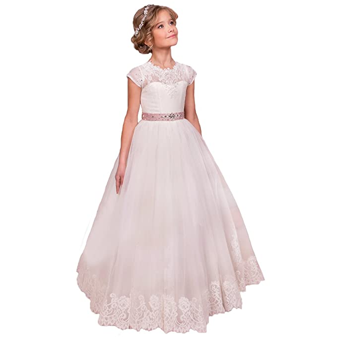 Amazon.com: Sittingley Flower Girls Lace Tulle Gowns First Communion Dresses: Clothing