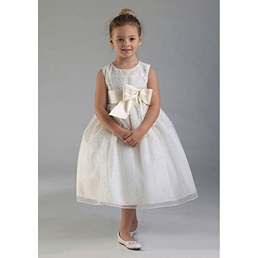 9c5403cc7f4 Amazon.com  Crayon Kids Ivory Tulle Bow Sleeveless Flower Girl Dress ...