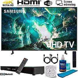 Samsung UN55RU8000 55″ RU8000 LED Smart 4K UHD TV (2019) w/Soundbar Bundle Includes, Deco Gear Home Theater Surround Sound 31″ Soundbar, Screen Cleaner, 2X HDMI Cable and 6-Outlet Surge Adapter