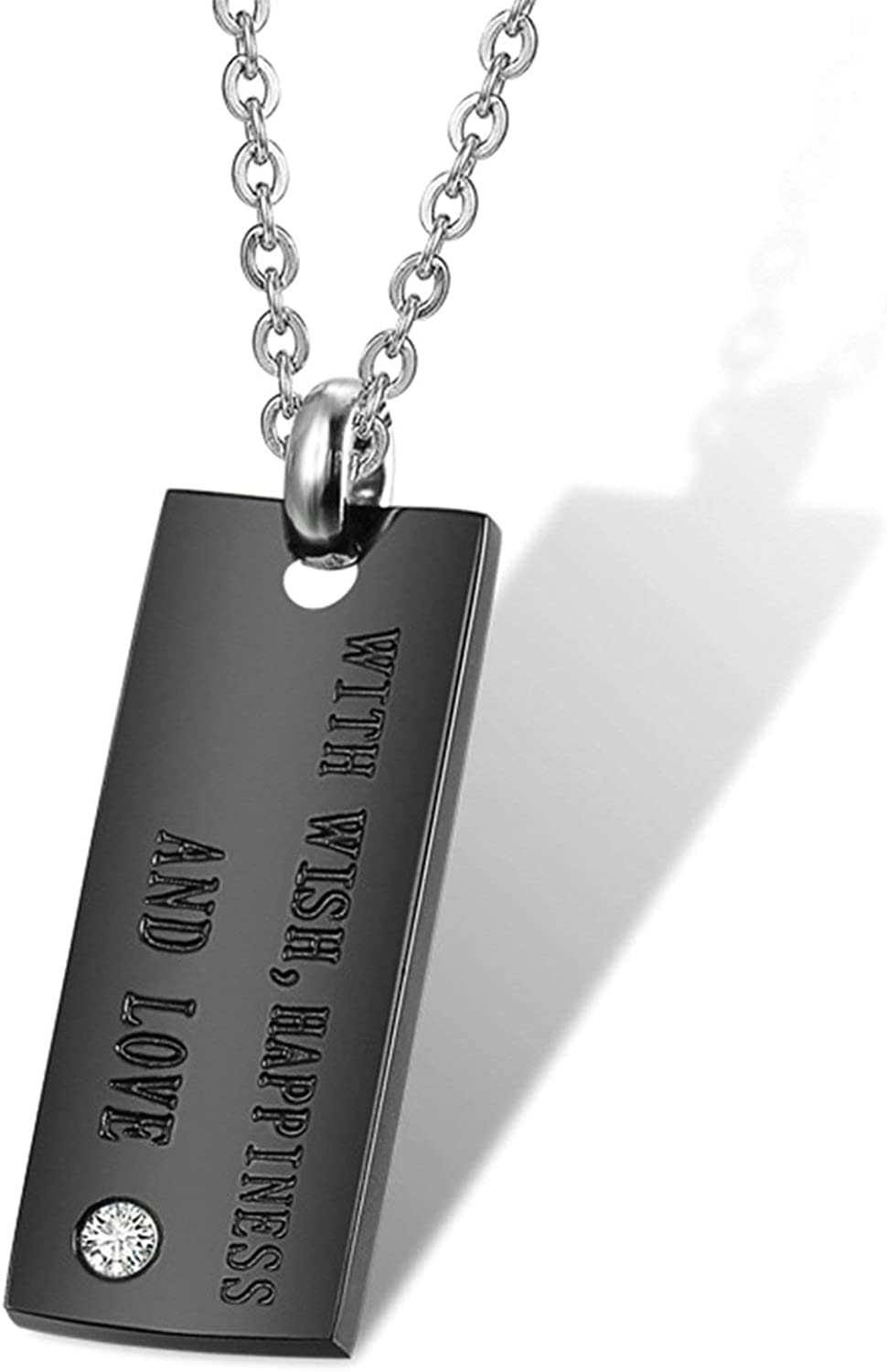 Happiness and Love MoAndy Necklace for Couple Titanium Steel Pendant Necklaces Cz Rectangle Bar Engrave with Wishes
