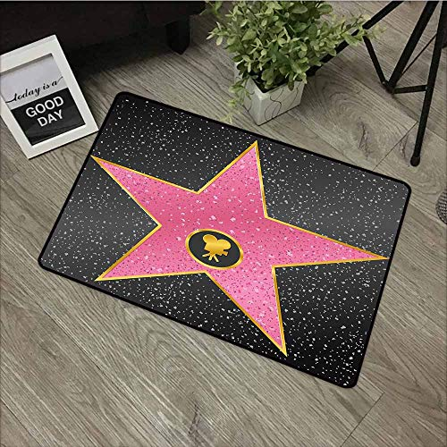 LOVEEO Custom Doormat,Popstar Party Hollywood Walk of Fame Symbol Celebrity Entertainment Culture,for Outdoor and Indoor,31