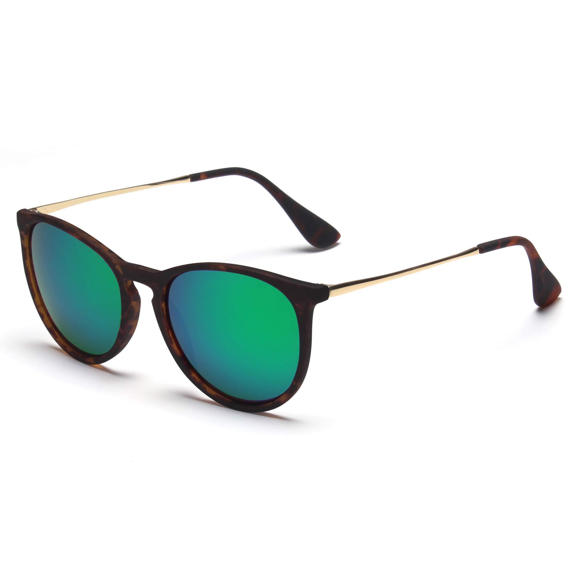 SUNGAIT Vintage Round Sunglasses for Women Girl Classic Retro Designer Style (Polarized Green Mirror Lens/Dark Amber Frame) 1567 PGHPKLV