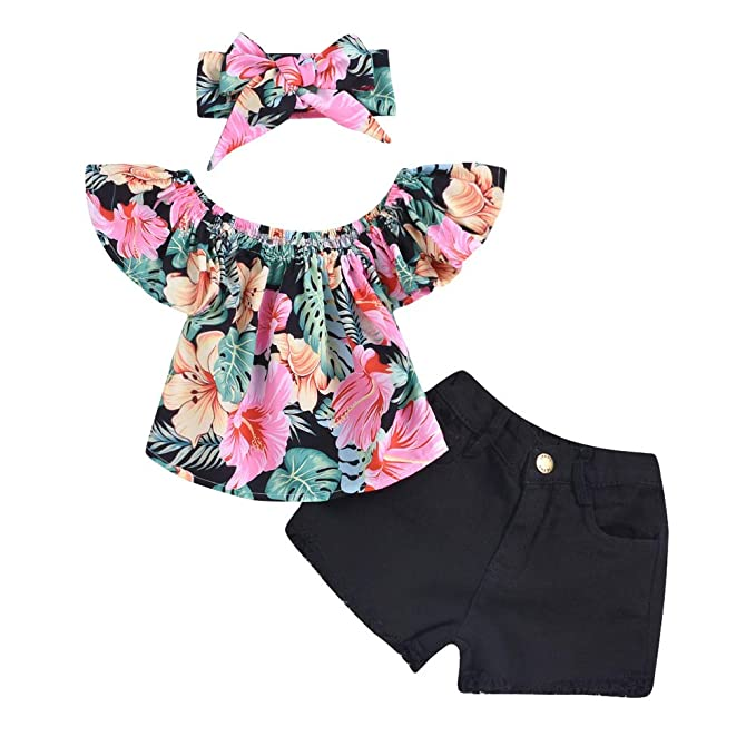 41b70d4d01221 Scfcloth Girls Kids Off Shoulder Ruffle Floral Top T-Shirt + Hole Pants  Shorts +
