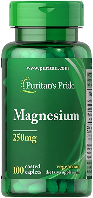 Puritans Pride Magnesium 250 Mg Caplets, 100 Count