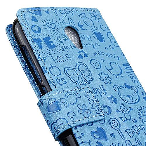 ALCATEL U5 3G Funda Faux Cuero Billetera Funda para ALCATEL U5 3G con Stand Función(Púrpura) Azul