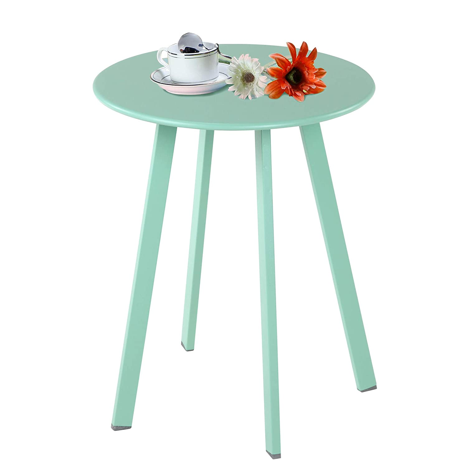 Grand Patio Steel Patio Coffee Table Weather Resistant Outdoor Side Table Tall Sized Round End Table Mint Green