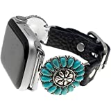Emulily Compatible with Apple Watch Leather Band 38/40 mm Western Conchos Boho