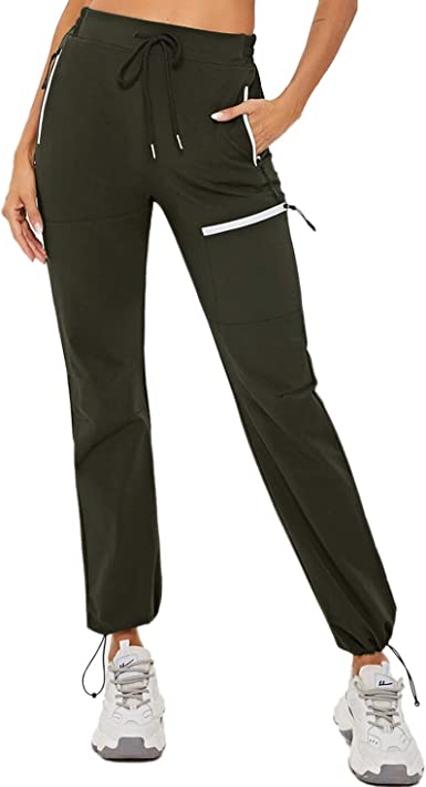 BALEAF Womens Cargo Pants Hiking 7 Pockets with Zippered Lightweight Athletic Quick Dry UPF 50 Water Resistant Drawstring