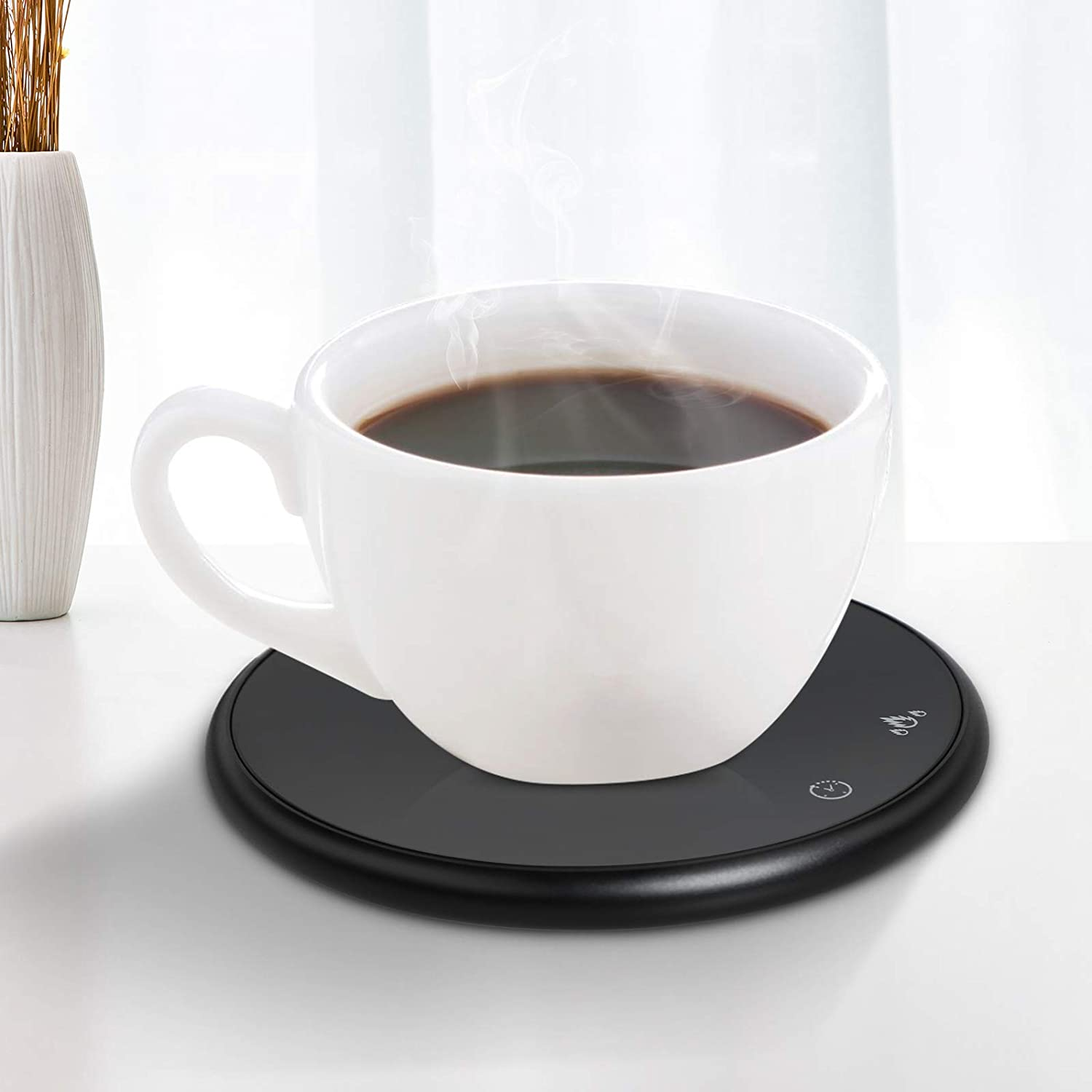 Wistopht Coffee Cup Warmer Pad - Coffee Mug Warmer, Electric Beverage Cup Warmer for Office Desk Use, Cup Heater Pad for Cocoa Tea Water Milk with Cup Sensing Touch Control Tech