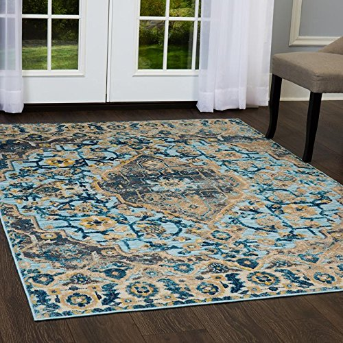 Home Dynamix and Shabby Chic   Fiesta Valencia Area Rug   Couture and Timeless Design, Vintage Style   Suits the Living Room, Dining Room, Bedroom and More! Blue, 2' x 4'