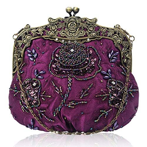 Vintage Bag Beaded Flower Clutch Sequin Purple Party Purse Wedding Cocktail Wanfor Evening AqFCd4xwq