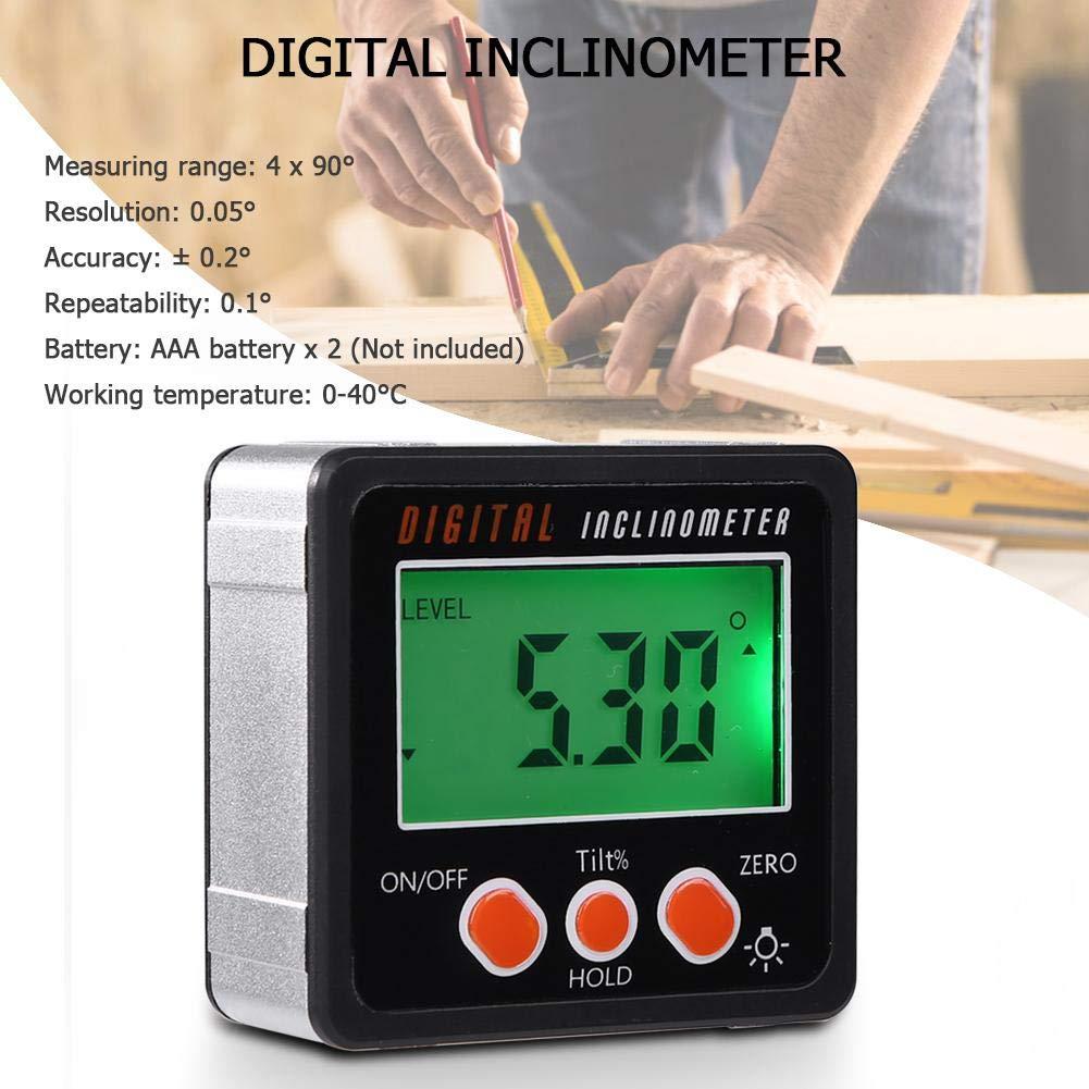 Sunflowerany Base del Magnete del Calibro dellangolo del Contenitore di smussatura del goniometro di Digital LCD del Mini inclinometro