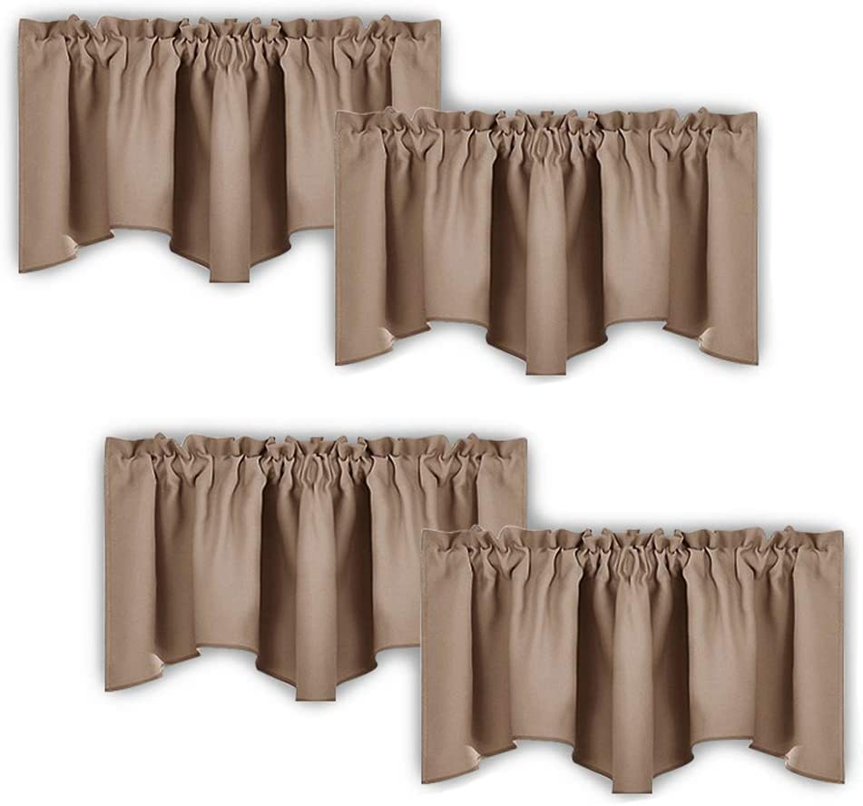 NICETOWN Room Darkening Cappuccino Curtain Valances - Solid Home Fashion 52 inches by 18 inches Rod Pocket Valance Curtain Panels for Small Window, Short Drapes/Draperies, Set of 4 Pieces