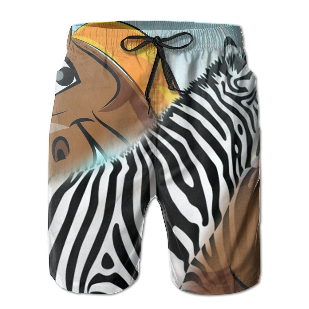 Love Of Zebra And Horse Summer Quick Dry Casual Beach Board Shorts With Pockets
