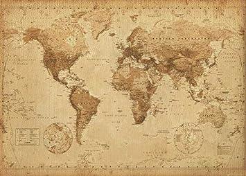 Empire 421180 - Minipóster (50 x 40 cm), diseño de mapamundi ...