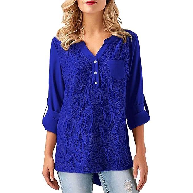 Blusa Gasa Cordón Blusas Manga Larga para Dama Camisas de Vestir Mujer Blusones Camisetas Largas Juveniles