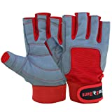 MRX BOXING & FITNESS Sailing Gloves with 3/4 Finger and Grip for Men and Women, Great for Kayaking, Workouts and More Grey/Red