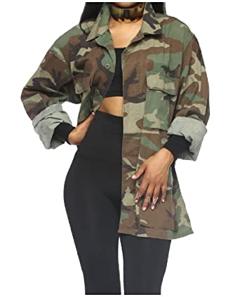 175689b799a17 Godeyes Womens Fashion Cardi Windbreaker Camo Single-Breasted Outwear  Printing Casual Army Long Jackets Coat