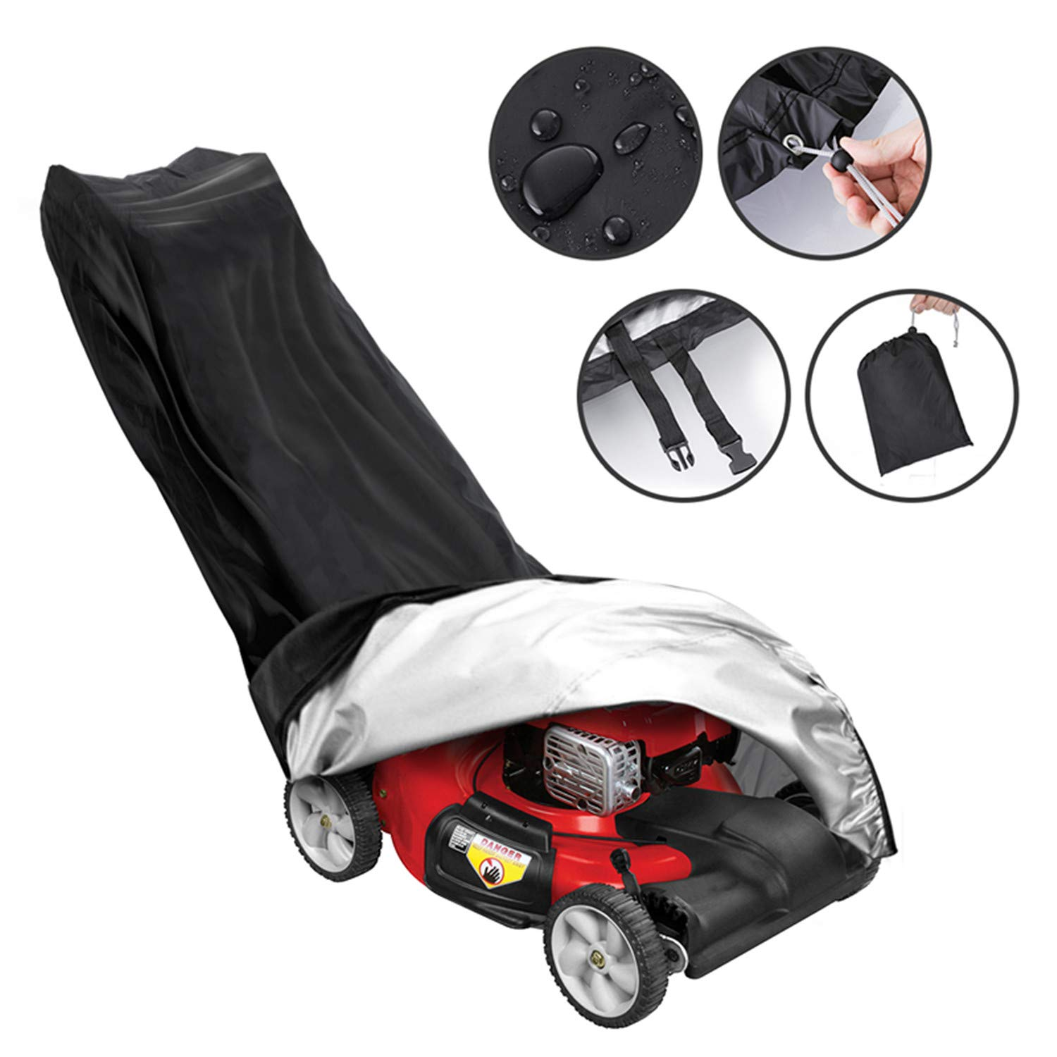 Tvird Lawn Mower Cover-Premium Oxford Heavy Duty Push Mower Cover,Anti UV&Mildew&Dust&Water Universal Fit Size with Drawstring,Storage Bag and Buckle(Black) by Tvird